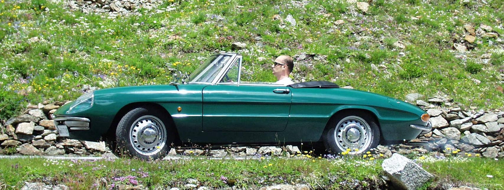 Alfa Romeo Spider rundheck grün | Nostalgic Oldtimerreisen
