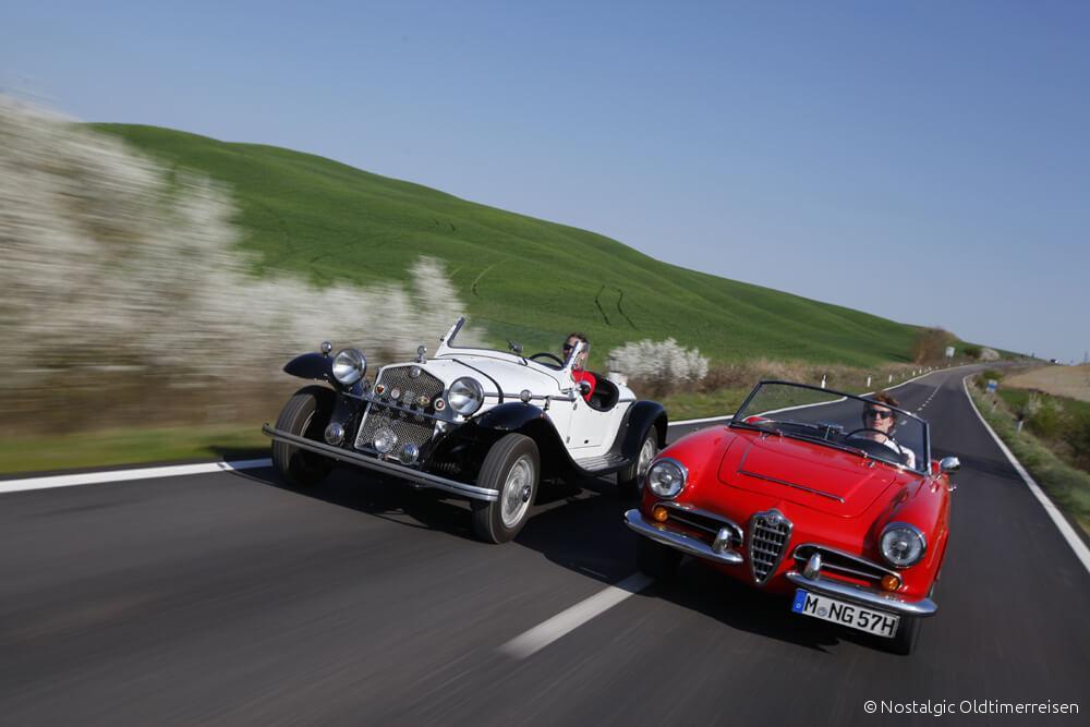 Alfa Romeo quattroruote Spider Giulia Toskana | Nostalgic Oldtimerreisen