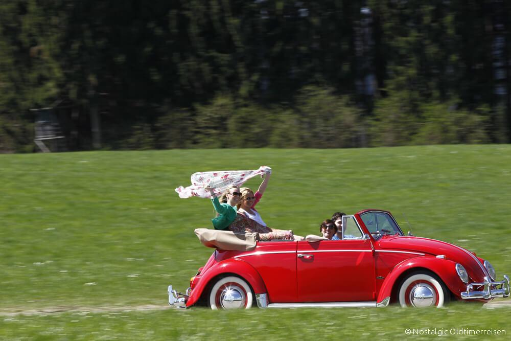 Volkswagen VW Käfer Cabrio 1200 rot red Exportmodell Export Modell | Nostalgic Oldtimerreisen
