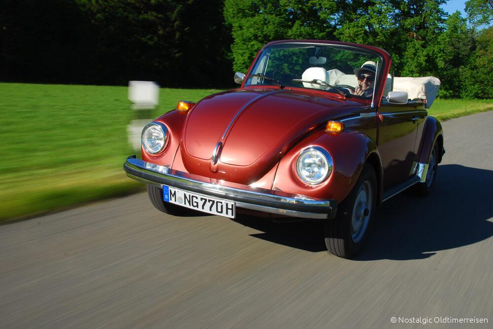 VW Volkswagen Käfer 1303 rot bronze metallic Cabrio| Nostalgic Oldtimerreisen
