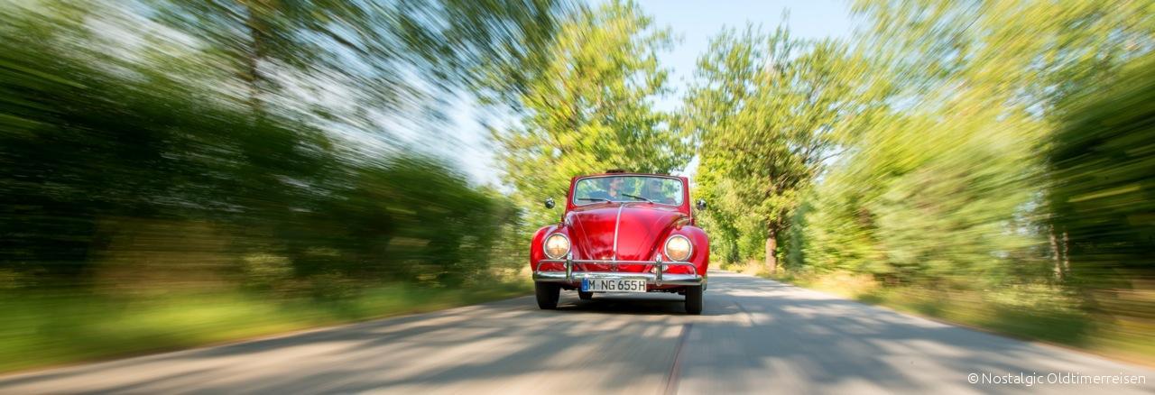 Berchtesgaden Volkswagen VW Käfer Cabrio Cabriolet 1200 rot red Bayern | Nostalgic Oldtimerreisen